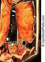 tienda, carne, carnicero, pedazos, galician, rojo