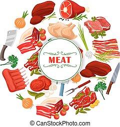 tienda, carne, cartel, carnicería, carnicero, vector, o