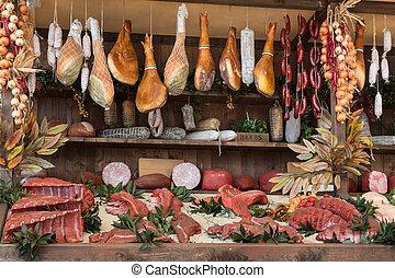 tienda, carne, de madera, carnicero, salchichas, tabla, surtido