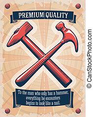 tienda, cartel, herramienta, dos, retro, martillos