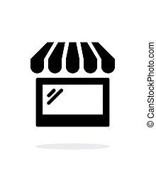 tienda, caso, vidrio, escaparate, fondo., blanco, icono