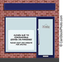 tienda, cerrado, covid, 19, pandemia, debido