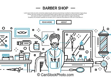 tienda, ciudad, -, sitio web, peluquero, bandera