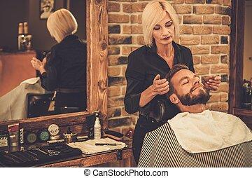 tienda, cliente, peluquero, peluquero, visitar