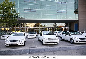 tienda, coches, estacionamiento