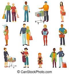 tienda, comprar, compras, comprador, gente, venta, carácter, aislado, ilustración, costumbre, bolsa, shoppingcart, proceso de llevar, vector, compra, plano de fondo, comprador, blanco, o, tienda, shoppingbag