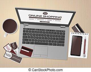 tienda, compras en línea