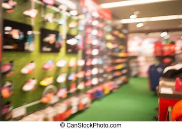 tienda, compras, resumen, confuso, fondo., alameda, ...