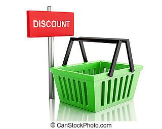 tienda, concepto, compras, basket., plano de fondo, en línea, blanco, 3d