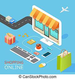 tienda, concepto, en línea