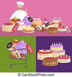 tienda, conjunto, desserts., dulces, sale., confitería, vector, ilustración, cakes.