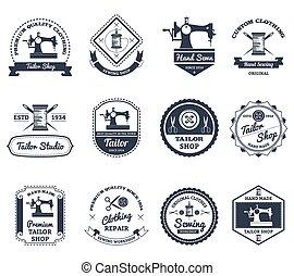 tienda, conjunto, iconos, etiquetas, sastre, negro