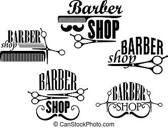 tienda, conjunto, peluquero, señales, o, insignias
