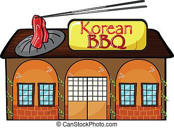 tienda, coreano, barbacoa