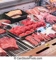tienda, crudo, pequeño, carne, carnicero
