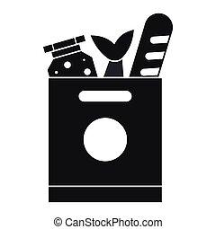 tienda de comestibles, alimento, simple, estilo, icono, bolsa
