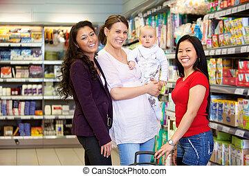tienda de comestibles, amigos, tienda, feliz