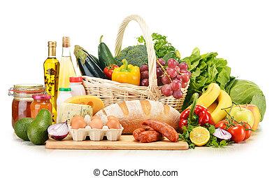 tienda de comestibles, blanco, productos, aislado, variado