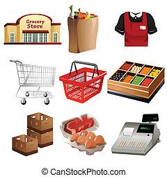 tienda de comestibles, iconos