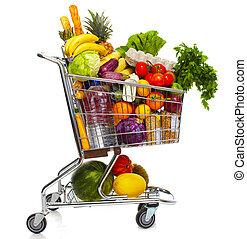 tienda de comestibles, lleno, cart.