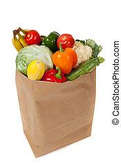 tienda de comestibles, lleno, vegetales, saco, plano de fondo, blanco