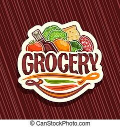 tienda de comestibles, logotipo, vector, tienda