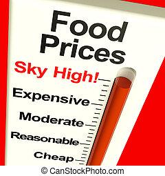 tienda de comestibles, monitor, alimento, actuación, alto, costes, precios, costoso