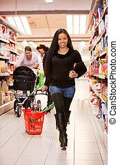 tienda de comestibles, mujer, asiático, tienda