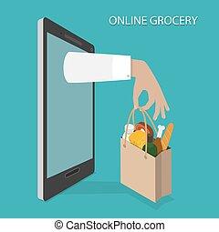 tienda de comestibles, ordenar, concept., entrega, vector, en línea