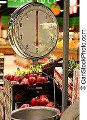 tienda de comestibles, peso de báscula