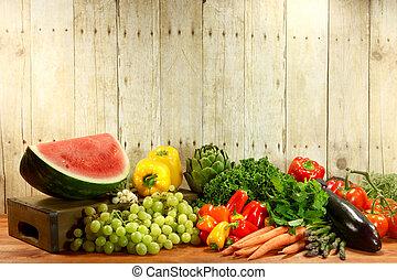 tienda de comestibles, producto, artículos, en, un, tabla de...
