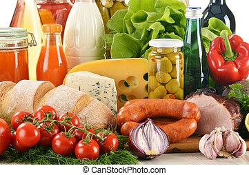 tienda de comestibles, productos, composición, variedad