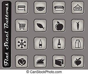 tienda de comestibles, simplemente, iconos
