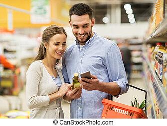 tienda de comestibles, smartphone, pareja, aceite, aceituna, compra