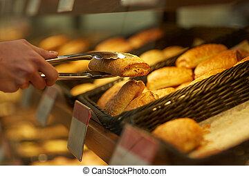 tienda de comestibles, toma, mano, tenazas, panadería,...