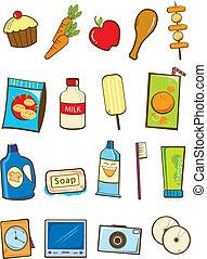 tienda de comestibles, vector, acción, illustration: