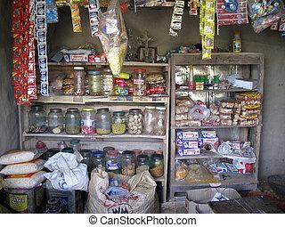 tienda de comestibles, viejo, enero, India, bengala, lugar,...
