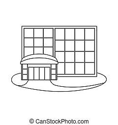 tienda de ventana, conjunto, acción, web., vector, ilustración, símbolo, emporio, icon.