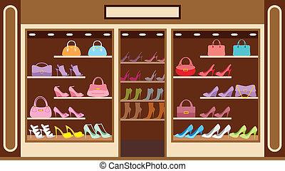 tienda, de, zapato
