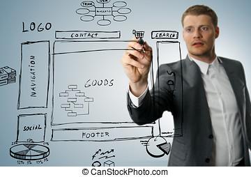 tienda, desarrollo, bosquejo, wireframe, en línea