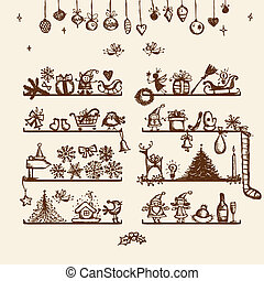 tienda, dibujo, su, navidad, bosquejo, diseño