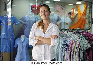 tienda, dueño, venta al por menor, portait
