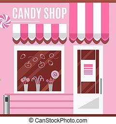 tienda, dulce, vector, diseño, plano, color., rosa