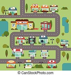 tienda, edificio, camino
