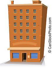 tienda, edificio, caricatura