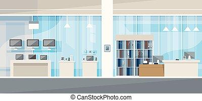 tienda, electrónica, moderno, tienda, interior
