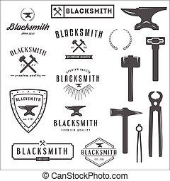 tienda, elementos, colección, logotypes, herrero, logotipo