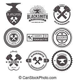 tienda, elementos, colección, logotypes, herrero, o, ...