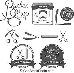 tienda, elementos, peluquero