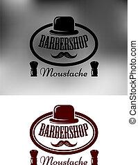 Tienda, emblema, etiqueta, peluquero, elegante, icono, o